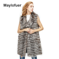 Maylofuer 2018 Real Silver Fox Fur Vest with Collar Women Fashion Natural Fur Fox Gilet Fur for Winter Warm Coats