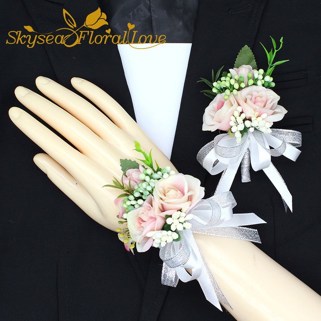 2018 New party corsages prom groom bride bow designed elegant wedding flower wrist corsage boutonniere Free