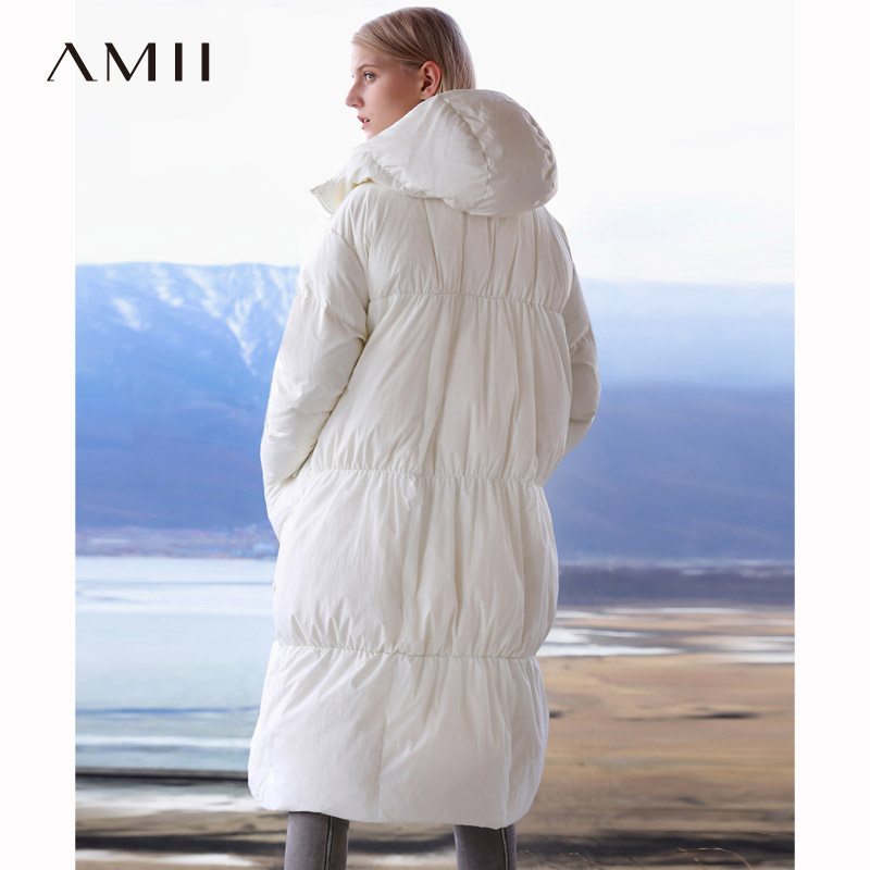 Amii   Down   Jacket Woman Hooded 2018 Causal Light Green Loose Thick Warm White Duck   Down     Coat