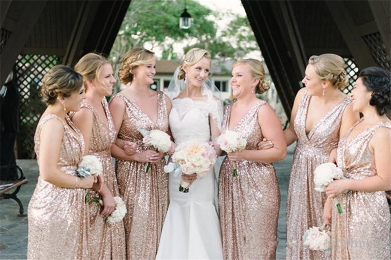 Bridesmaid dresses gold sparkle