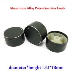 Perilla amplificadora de Control de volumen, aleación de aluminio negra, 33x18mm, perilla de tono de graves, potenciómetro, tapa de perillas