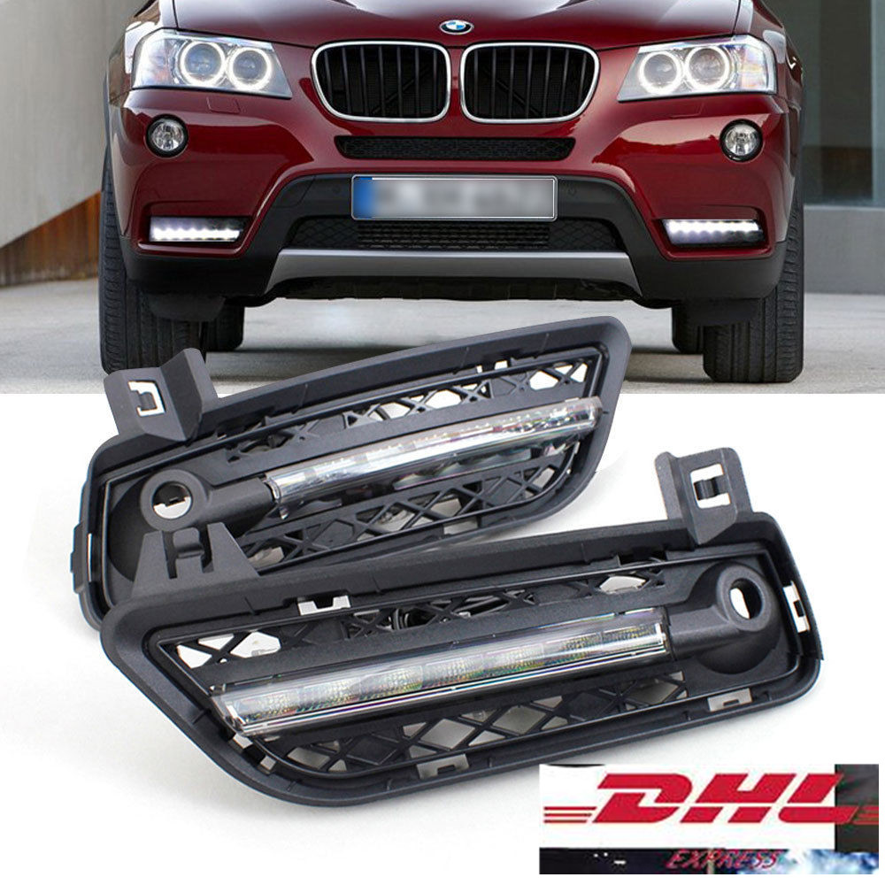 Fast free shipping 2 x xenon white 7 led high power led drl daytime running light with fog lamp cover for bmw x3 f25 2011 2014
