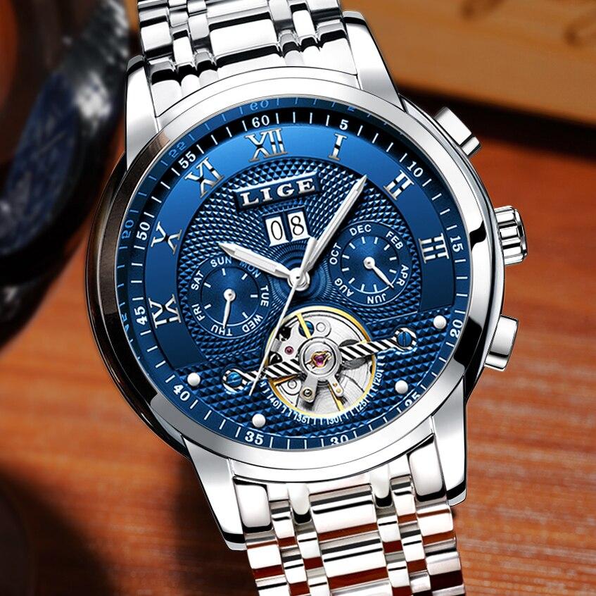 5009ac4e28b LIGE Mens Watches Top Brand Luxury Automatic Mechanical Watch Men All Steel Business  Clock Male Waterproof. sku  32859337877