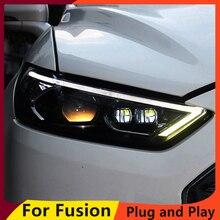 KOWELL araba Styling için Ford Mondeo 2013 2015 için LED far Fusion kafa lamba LED gündüz çalışan işık LED DRL bi xenon HID