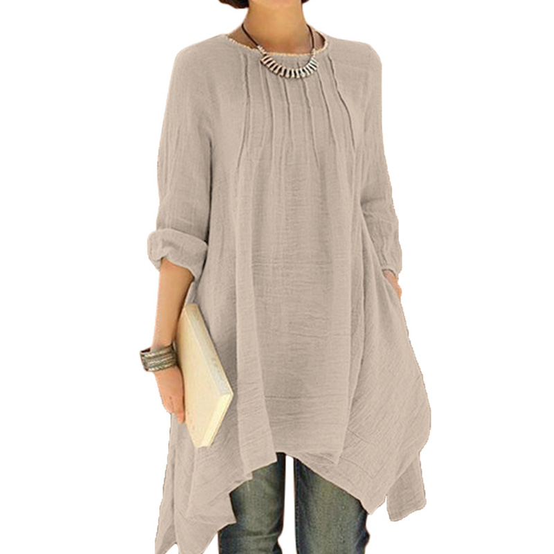 2017 summer women long sleeve cotton linen asymmetrical Women s long sleeve shirt dress