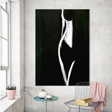 handmade oil painting For Living Room Home Decor Modern Nude Painting Female Form Black White Canvas Art Painting No Frame(China)