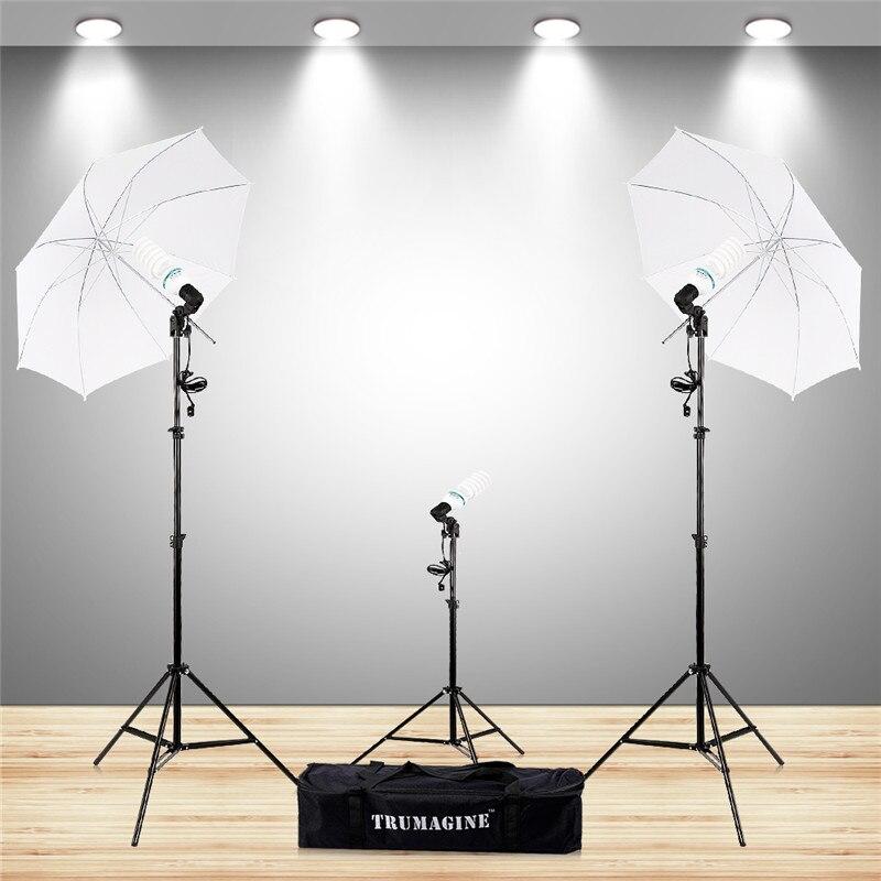 Photo Studio Kit With E27 Socket Photo Lighting Bulb Holder Photography Flash Soft Umbrella +Tripod&Lighting Stand+Light Bulbs 2x daylight 35w 175w 5500k e27 umbrella photo studio photography bulb lamp