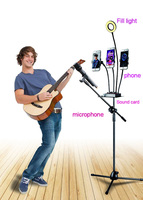 Selfie Ring Light 360 Degree Swing Boom Floor Stand Microphone Holder three cell Holder mic stand Ajustable Stage Tripod Metal
