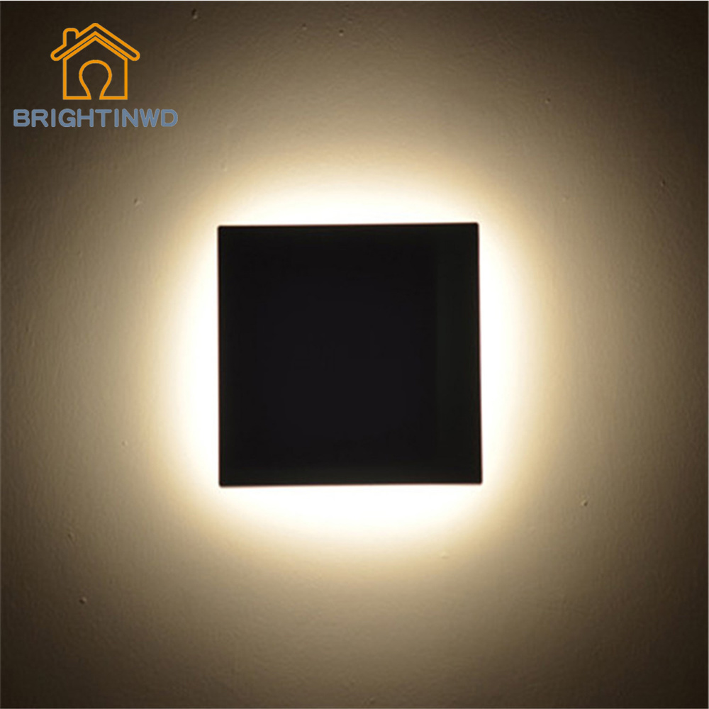 BRIGHTINWD New Wall Lamp LED Square Post modern Art Bedroom Wall Lamps Villa Exterior Wall Light Door Decorative Art Deco Style