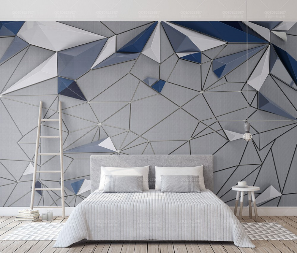 Free Shipping 3D Blue Geometric Polygon Splice Cloth Pattern TV Backdrop Wallpaper Custom Photo 3D Wallpaper for Living Room book knowledge power channel creative 3d large mural wallpaper 3d bedroom living room tv backdrop painting wallpaper