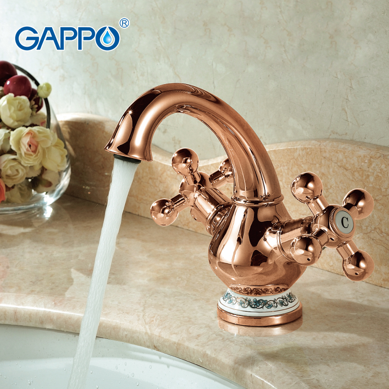 ФОТО GAPPO 1set High quality Basin sink Faucet restroom sink mixer tap Ceramic Pattern Decoration Double Handle Rose Gold G1065-3