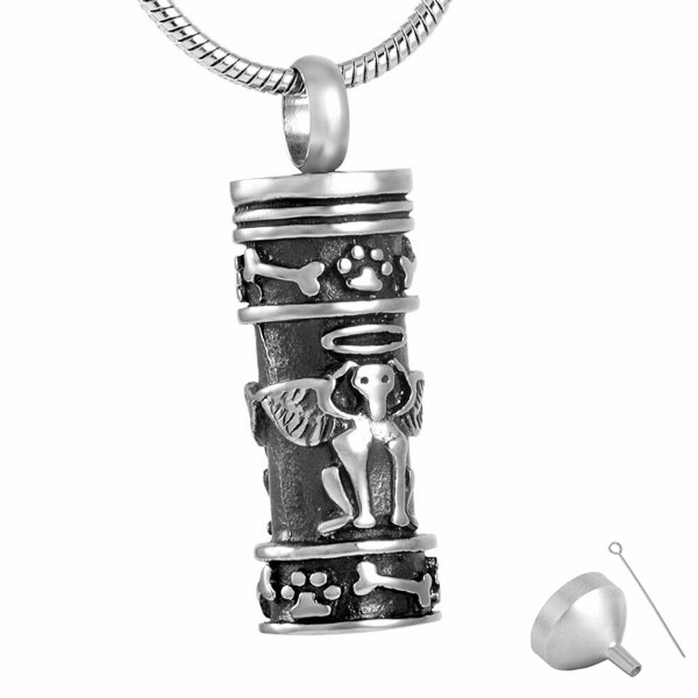 Onwijs 8186 Angel Hond Gegraveerd Cilinder Urn As Hanger rvs Crematie As GF-11