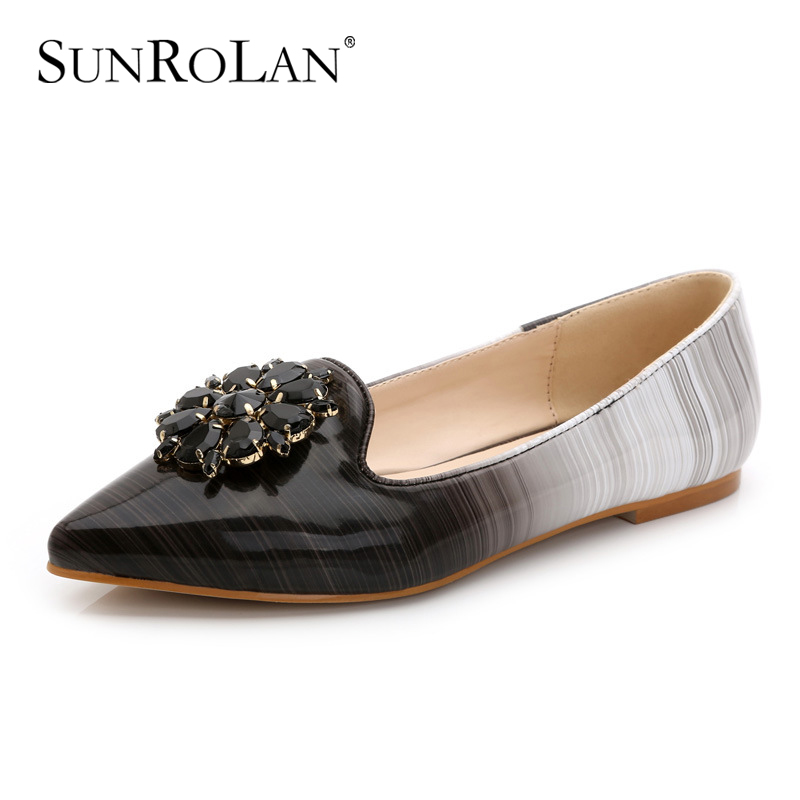 SUNROLAN Plus Size 2017 Spring Lady Shoes Patent Leather Shoes Women Pointed Toe Flats With Crystal Slip-on Female Shoe DMN-680 enmayer pointed toe summer shallow flats slip on luxury brand shoes women plus size 35 46 beige black flats shoe womens