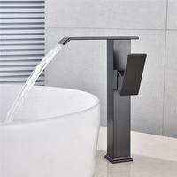 Basin Faucet Tall Waterfall Bathroom Faucet Single handle Basin Mixer Tap Bath Antique Faucet Brass Sink Water Crane Silver