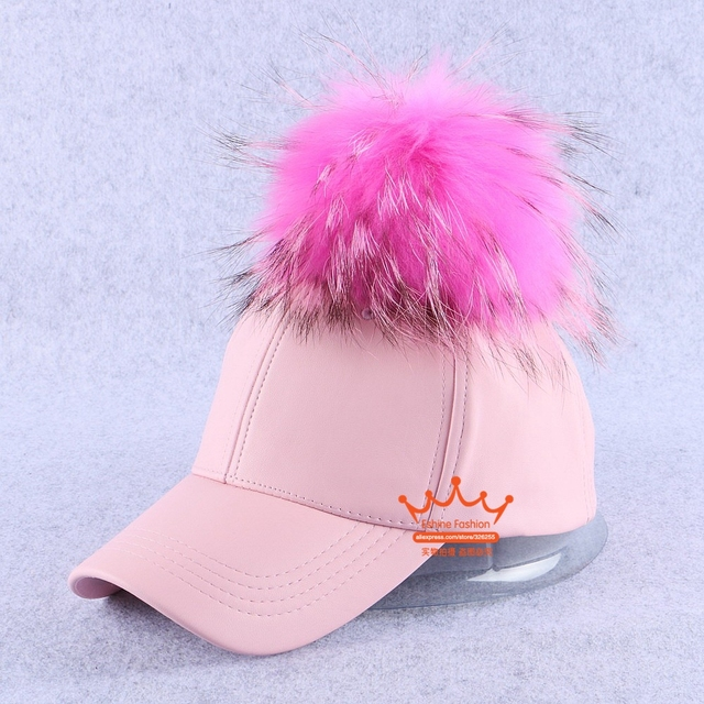 new popular women brand winter hat with pink raccoon pompom large 15cm size leather baseball cap outdoor thermal girl snapback