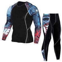 Новейший спортивный костюм с 3D-принтом для фитнеса с компрессионным набором Футболка мужская MMA