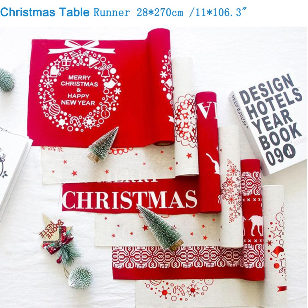 Christmas Table Runners Long Tablecloth Table Covers Christmas Decoration For Home New Year Table Runners Decorations Table Flag
