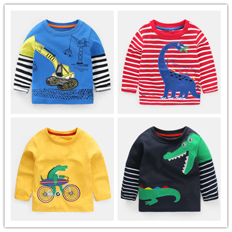 VIDMID Boys Long Sleeve Clothes T-shirts Kids Cotton Dinosaur Tops T-shirts Boys Cartoon Clothes T-shirts For 2-8 Years 1000