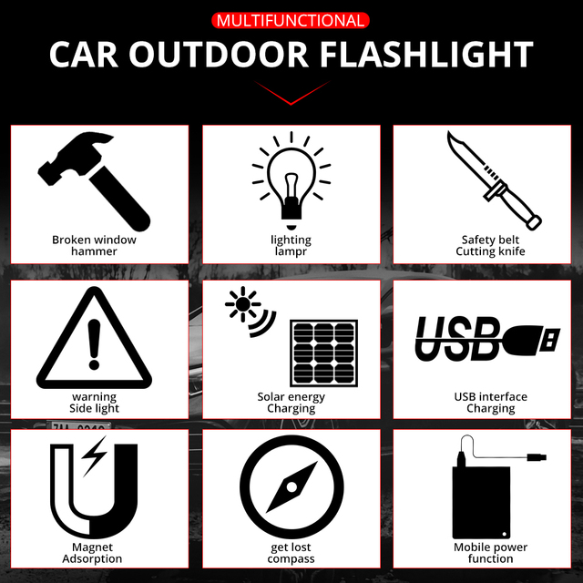 USB Solar LED Flashlight Emergency Light Safety Hammer Recharging Power Bank Outdoors Compass  Survival Tool For Travel Camping 6