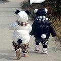 Estilo Panda das Crianças Casaco de Inverno 2016 Nova Moda Jaqueta de Algodão Grosso Quente Casual Roupas Das Meninas Dos Meninos Preto Branco Outwear 1164