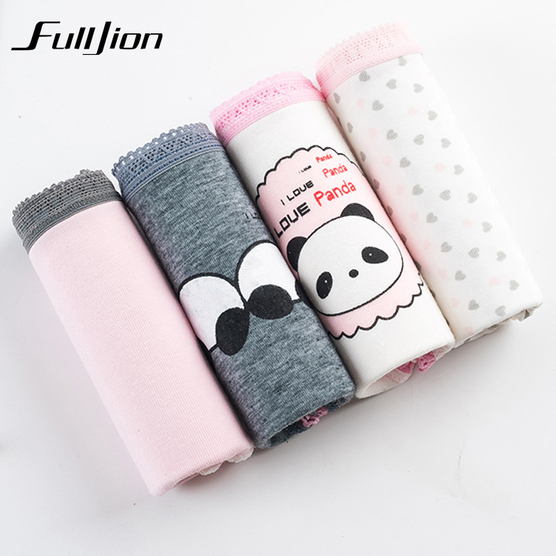 Buy Fulljion 4pcs / lot Women Panties Cartoon Girl Briefs Cotton Underwear Soft Sexy Underpants Cute panda Printed tanga intimates