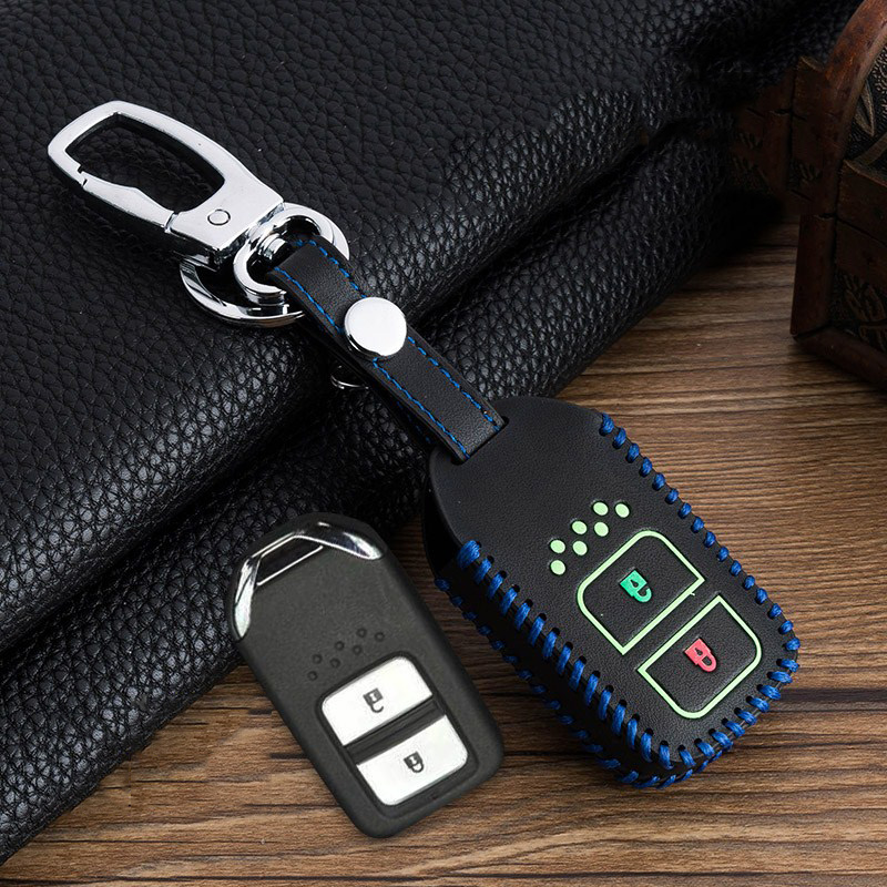 Image 3 - Hand sewing Luminous Leather Car Key Cover Case For Honda Vezel city civic Jazz BRV BR V HRV Fit Remote Key Jacket Car stying-in Key Case for Car from Automobiles & Motorcycles