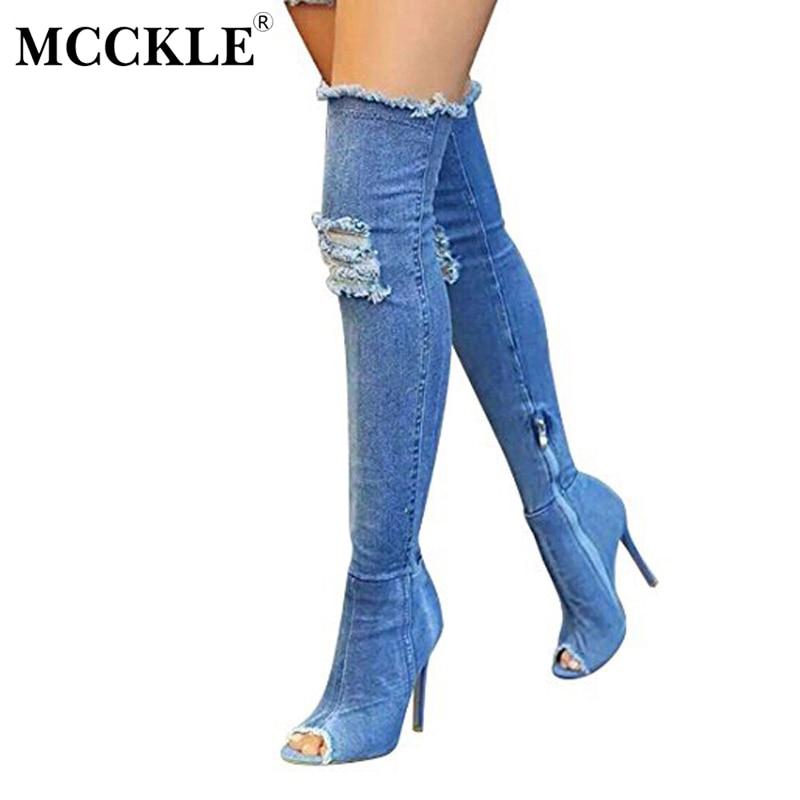 MCCKLE Female Ripped Peep Toe Tight Slim Denim Zip Elastic High Heel Over The Knee Boots 2017 Women's Fashion Style Black Shoes tight denim джинсовые брюки