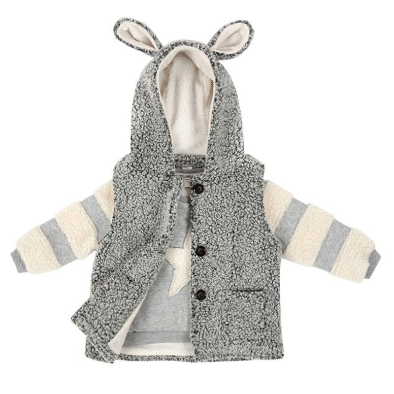 ФОТО Winter Baby Boy Grey Sleeveless Down Outerwear & Stripes Stitching Sweater For Kids 2pcs