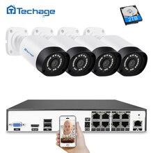 Techage H.265 8CH 4MP CCTV Системы POE NVR комплект 4 шт. открытый Водонепроницаемый 4MP безопасности IP Камера P2P видеонаблюдения Системы комплект
