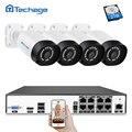 Techage H.265 8CH 4MP sistema CCTV NVR POE Kit 4 unids impermeable al aire libre 4MP de la cámara de seguridad IP de P2P Sistema de Video Vigilancia Conjunto