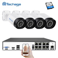 Techage H.265 8CH 4MP CCTV System POE NVR Kit 4PCS Outdoor Waterproof 4MP Security IP Camera P2P Video Surveillance System Set