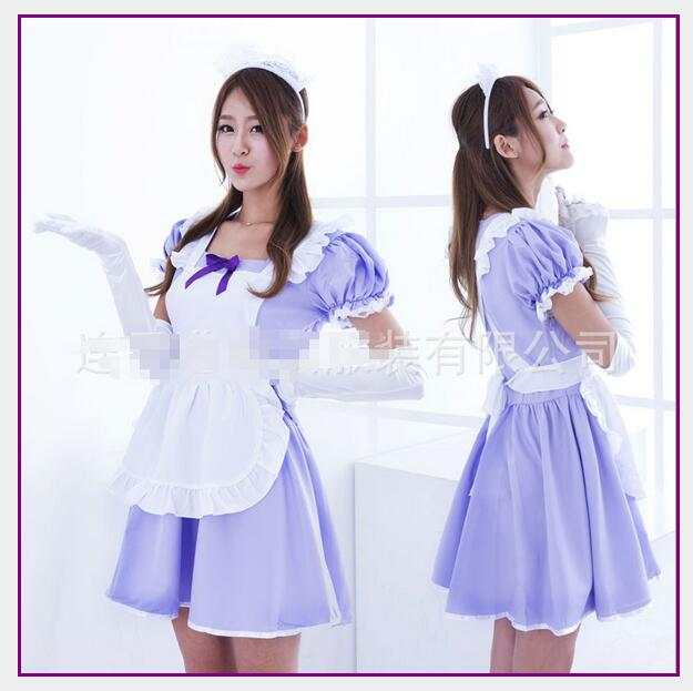 4f61715651 New Sexy Sweet Purple Gothic Lolita Dress French Maid Costume Anime Cosplay  Maid Uniform Plus Size