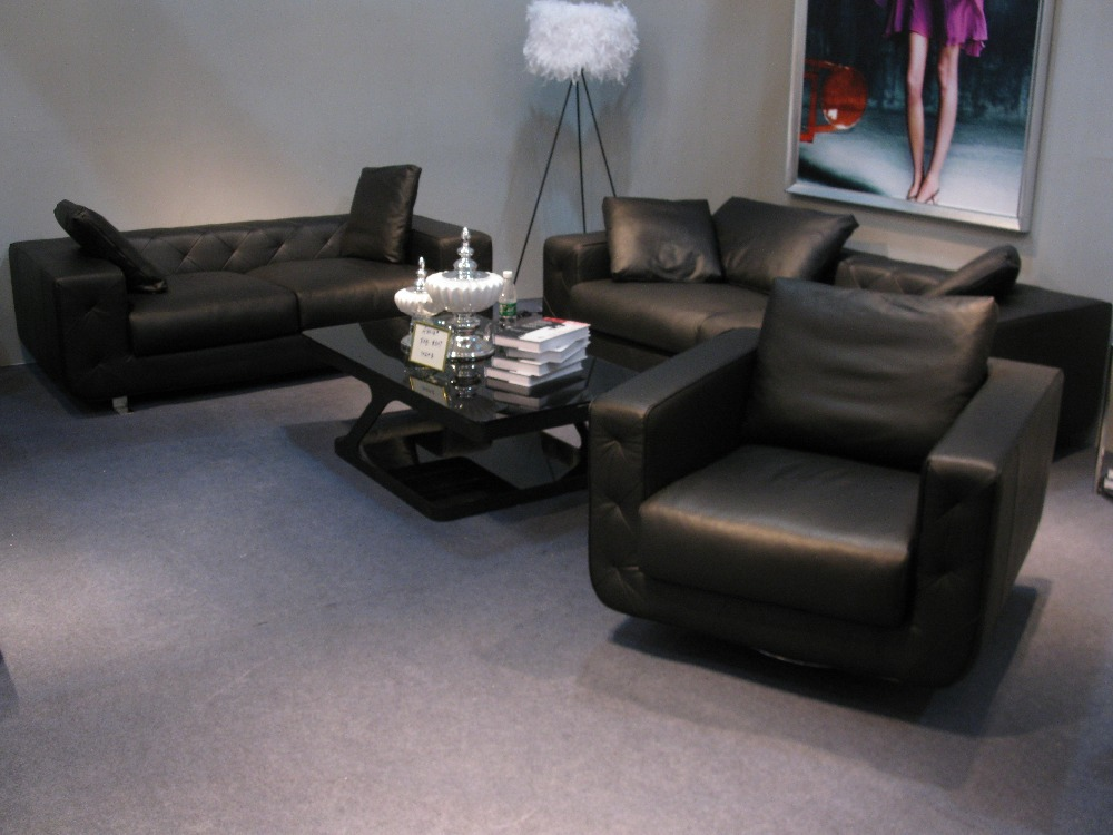 Hot Sale Modern Chesterfield Genuine Leather Living Room Sofa Set Black Color For Feather Inside