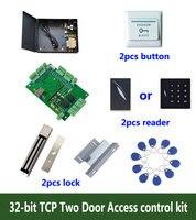 32 비트 액세스 제어 키트  tcp 2 도어 액세스 제어 + 전원 + 280 kg 자물쇠 + zl-브래킷 + id 리더 + 버튼 + 10 id 태그  kit-T208