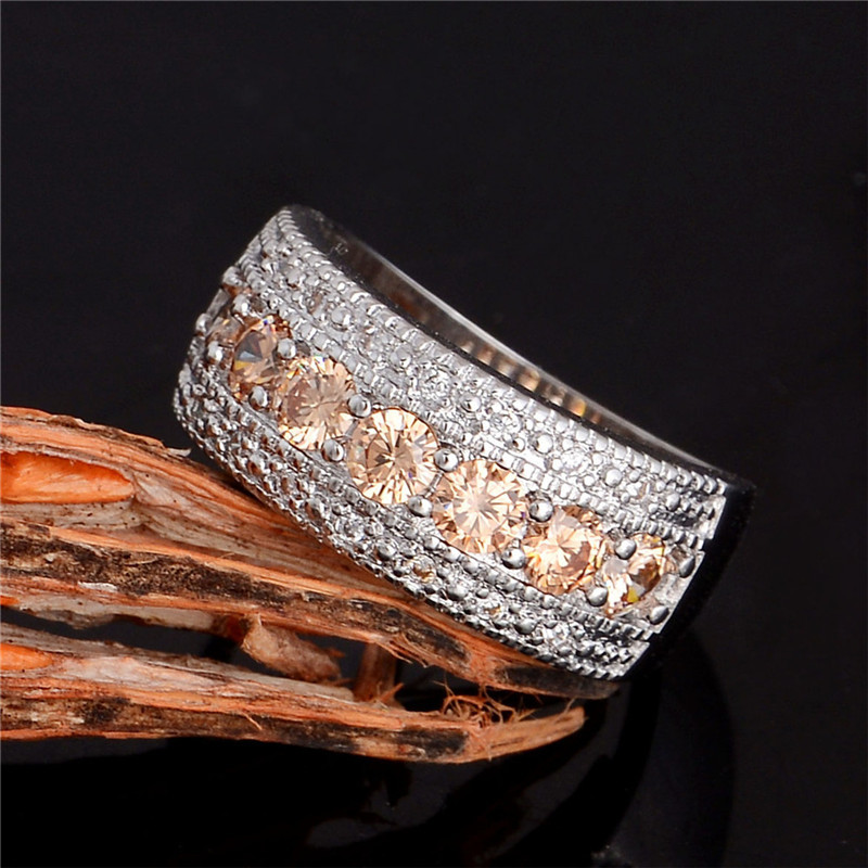 Champagne Cubic Zirconia Diamond Ring