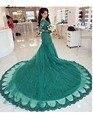 Elegantes Mangas Compridas Vestidos de Noite Verdes 2016 V Sereia Pescoço vestido de Baile Tribunal Trem Formal Partido Mulheres Vestido abiye gece elbisesi