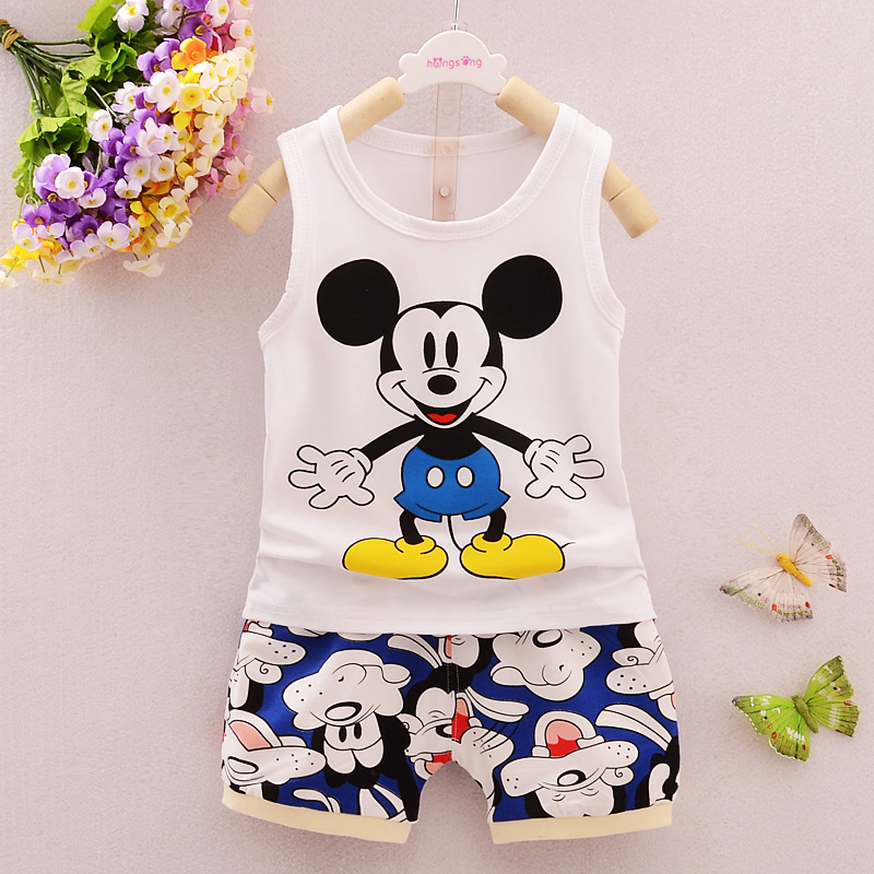 Bibicola summer baby boys clothing set cartoon top vest+shorts 2 pieces clothes set baby boy clothes sport suit tracksuit set