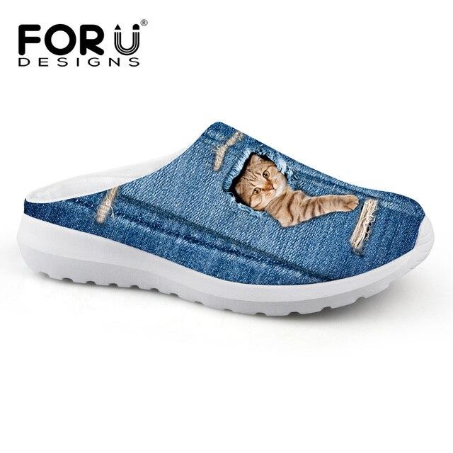 fd6342eec5 Novas mulheres de verão denim bonito cat impressão chinelo tamancos menina  casais casuais plana sapatos de
