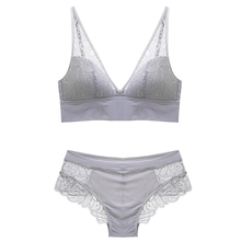 Women's Leaves Lace Deep V Bra and Panties Set