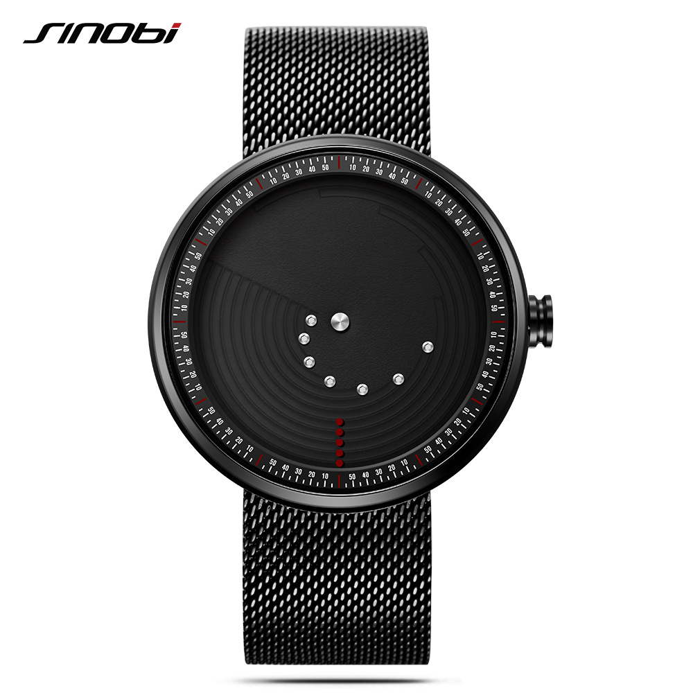 SINOBI New Creative Mens Quartz Watch Fashion Sport Waterproof Wristwatch Stainless Steel Milan Mesh Band Relogio Masculino Hot