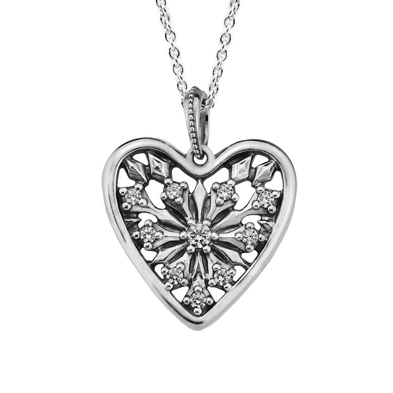 Heart of Winter Pendant & Necklace with Clear CZ 100% 925 Sterling Silver Fine Jewelry Free Shipping