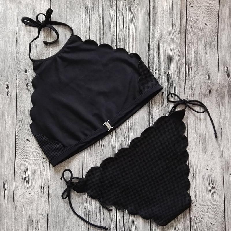 Sexy Bikini traje de baño de las mujeres 2017 de cuello alto negro - Ropa deportiva y accesorios - foto 5