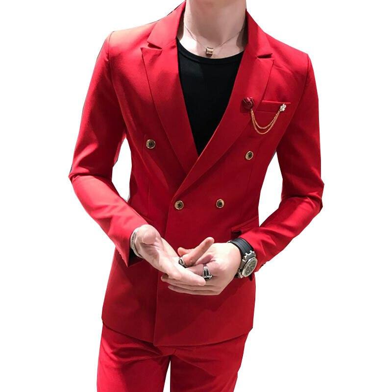 2 unidades rojo doble Breasted Mens trajes con pantalones 2018 nuevo traje  hombre Slim Fit boda del novio Casual de negocios Terno masculino en Trajes  de La ... 11aeec51741