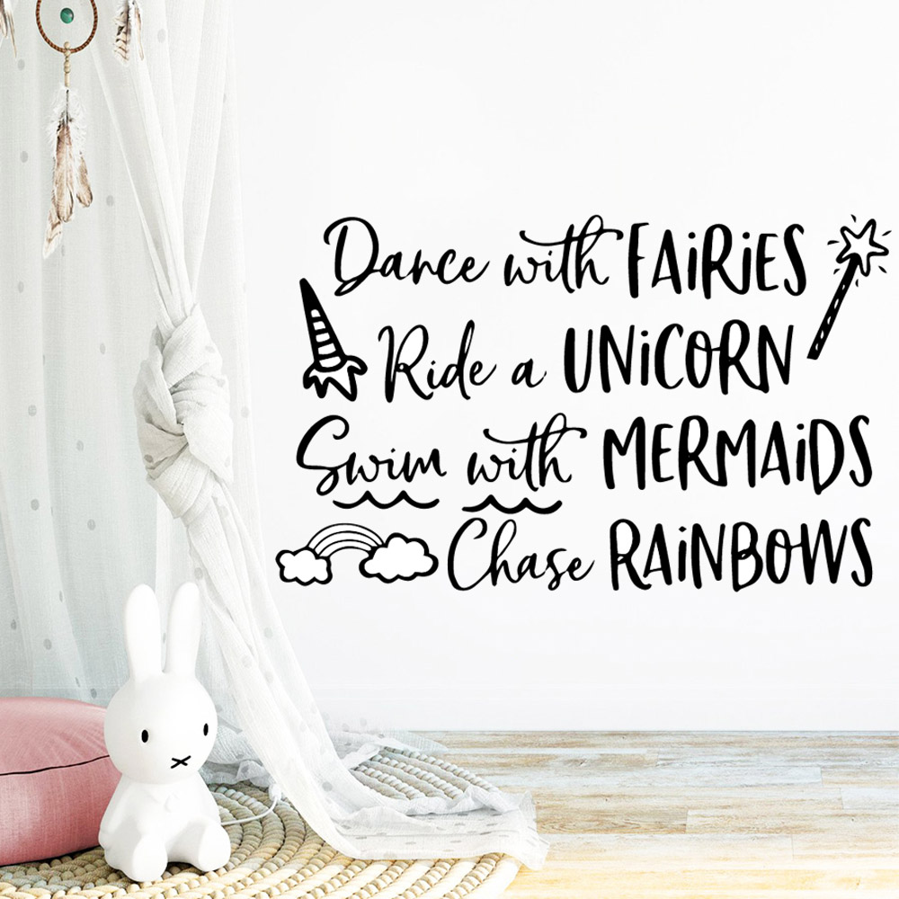 American Style dance ride swim and chase Home Decorations Pvc Decal Kids Room Nature Decor Mural Poster in Wall Stickers from Home Garden