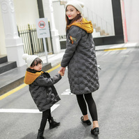 2018 Winter Mother and Daughter Clothes Cotton Jackets Mom Son Outfits Big Pocket Family Matching Jacket Outwear Clothing Dress
