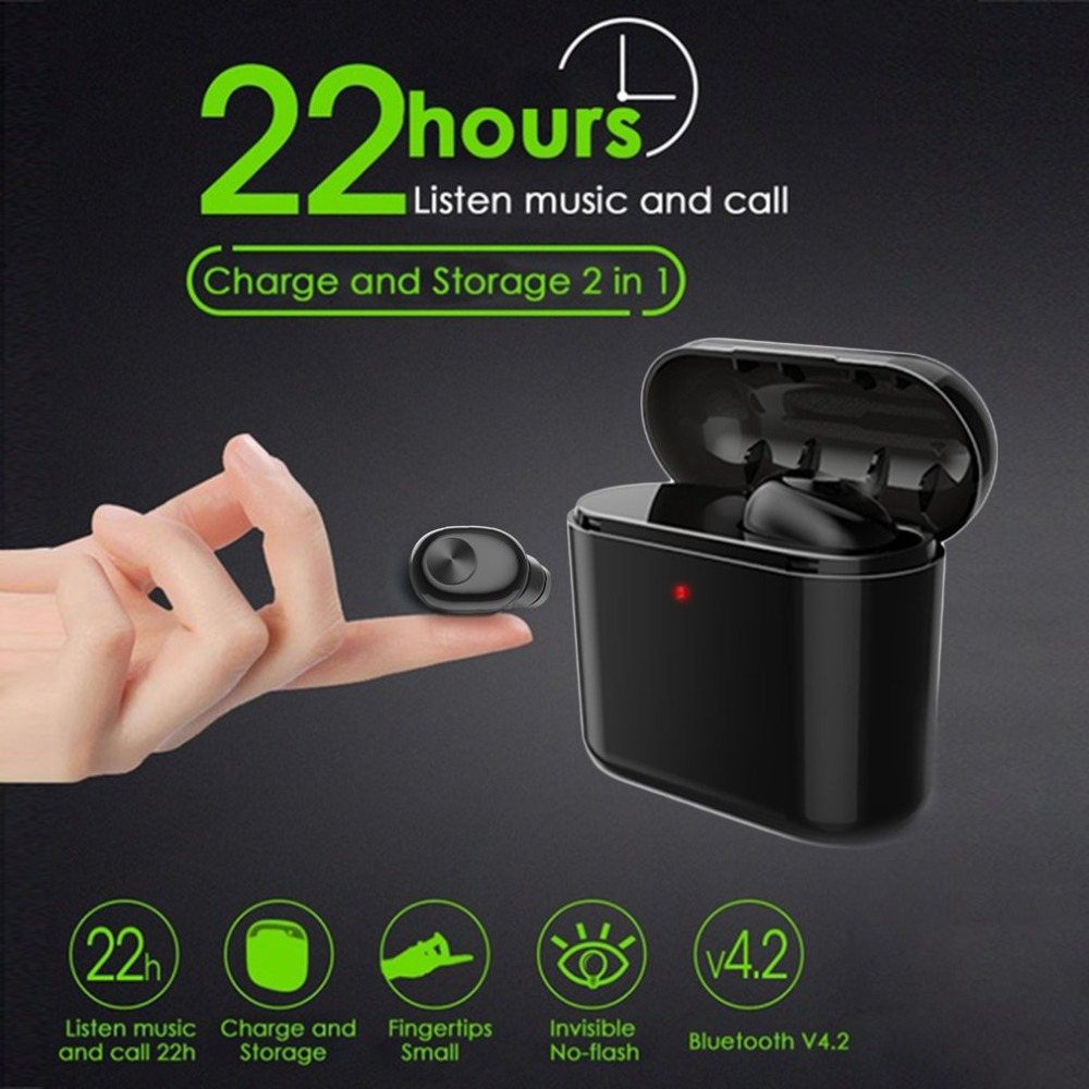 Bluetooth Earbud Headset True Wireless Bluetooth Twins Stereo In-Ear Earphone for iPhone Android Intelligent Charge Box