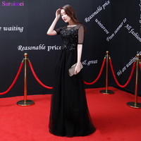 2018 New Arrival Black Beaded Sequines Prom Dresses Sheer Illusion See Through Open Back Corset Long Prom Gown