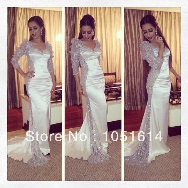 44ea9033a0 Lebanese Singer Evening Dress Mermaid Long Sleeve Sweetheart Neckline Side Sequined  Luxury Long Kuwait Celebrity Dress