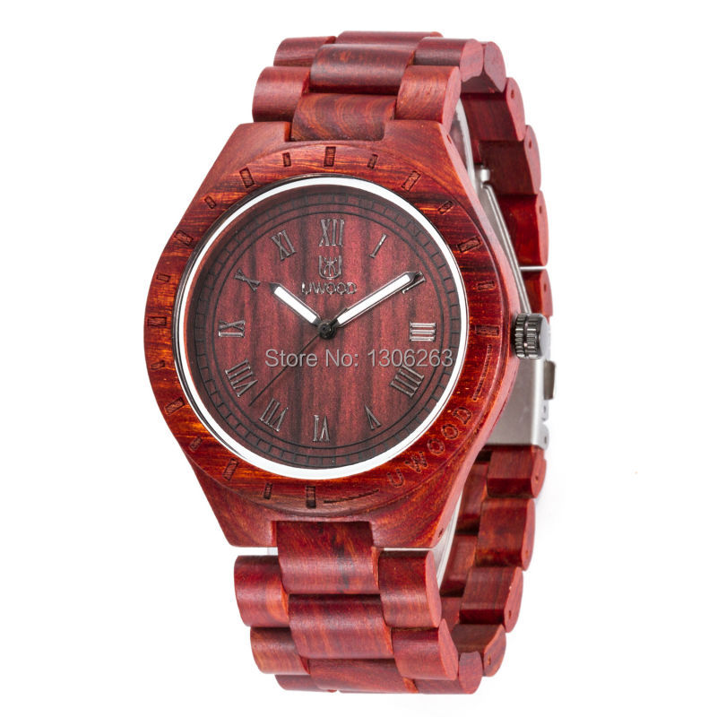New Watches Wood Men Black Sandalwood Strap Analog Quartz Watches Business Men Casual Men Dress Watches
