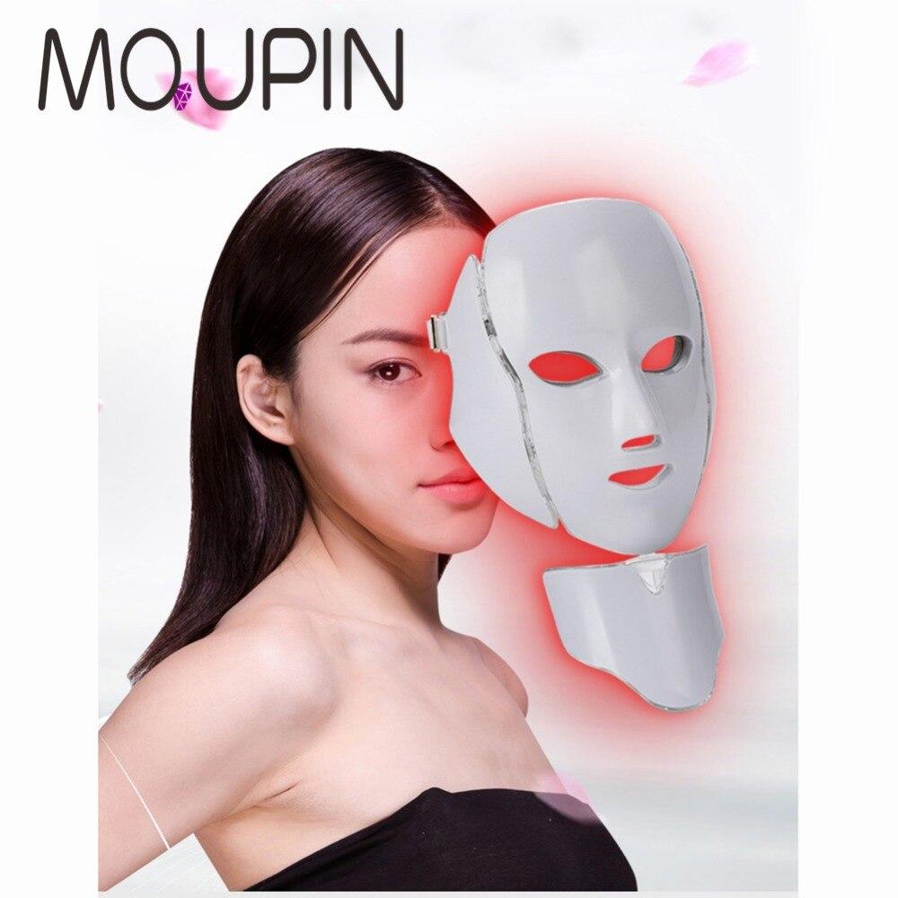 7 couleurs lumière LED masque Facial rajeunissement de la peau soins du visage traitement beauté Anti acné thérapie blanchissant Instrument